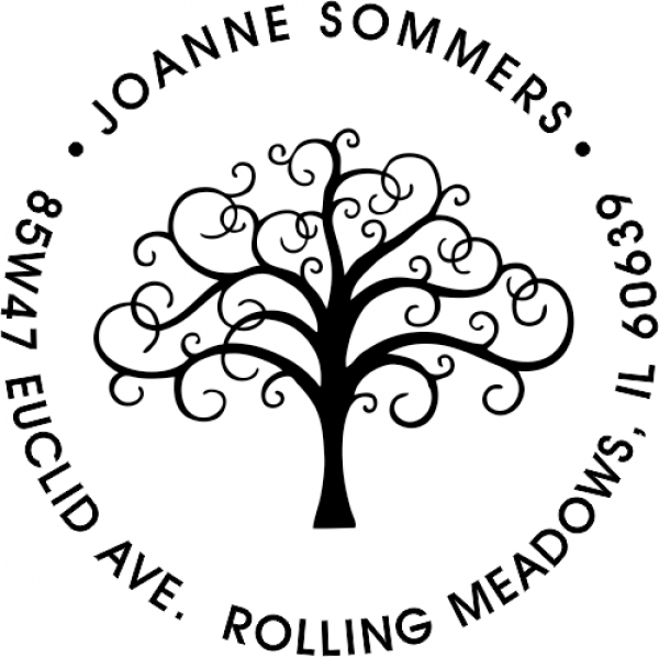 Round Rubber Tree Address Stamp