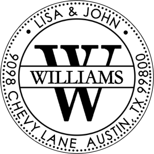 Williams Custom Round Return Address Stamp