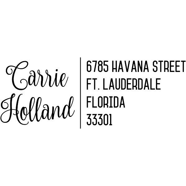 Holland Script Trendy Address Stamp