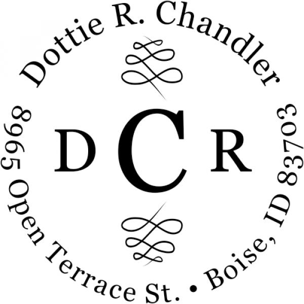 Chandler 3 Letter Monogram Address Stamp