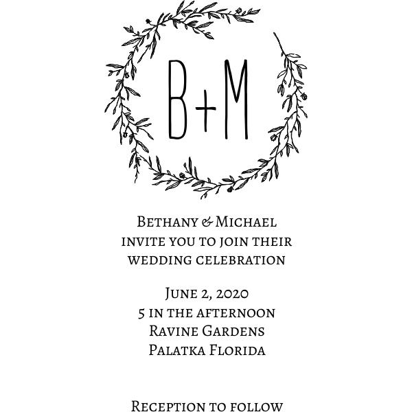 Floral Wreath Wedding Invitation Stamp