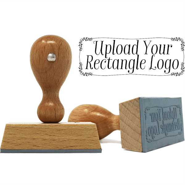 Rectangle Logo Custom Hand Stamp with Vine Border