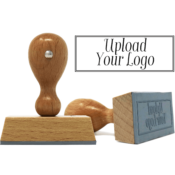 Rectangle Logo Custom Hand Stamp with Double Line Border