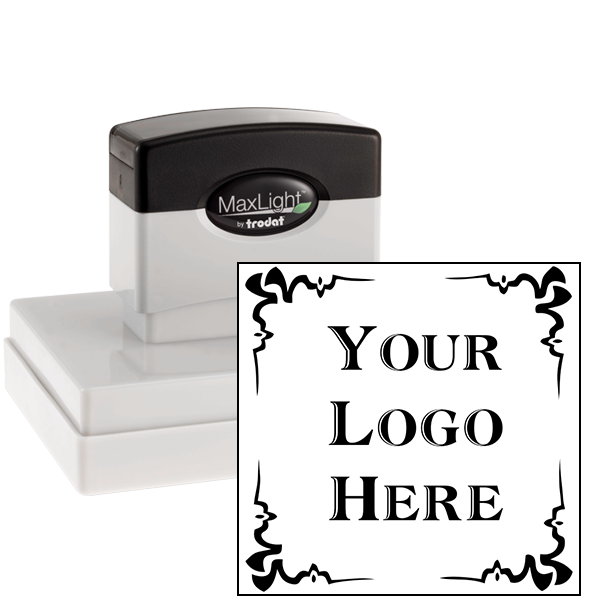 4 Corner Deco Border Logo Pre-Inked Stamp