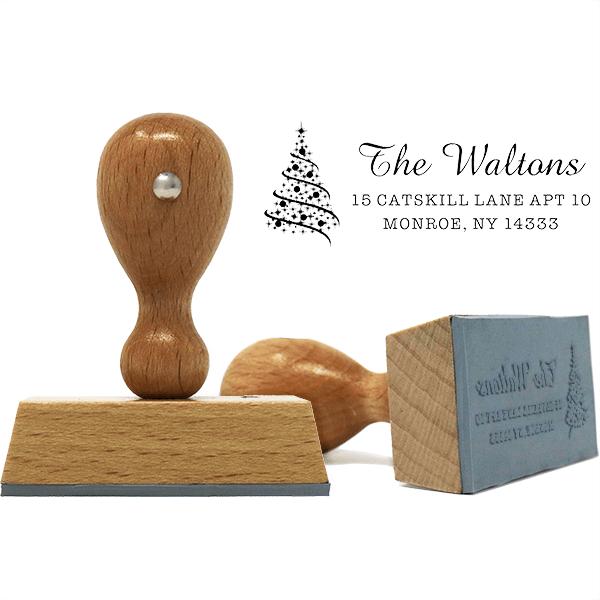 Walton Christmas Tree Address European Hand Stamp