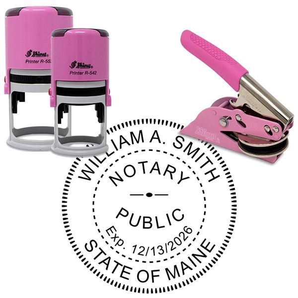 Maine Notary Pink - Round Design
