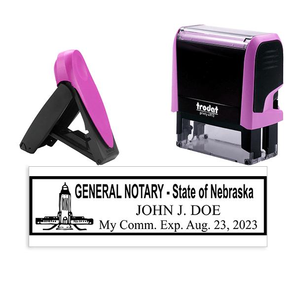 Nebraska Notary Pink Stamp - Rectangle