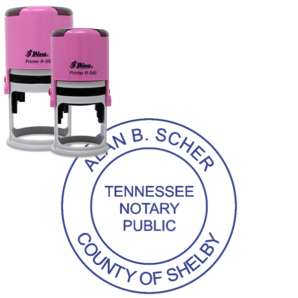 Tennessee Notary Pink Stamp Without Date - Round Design