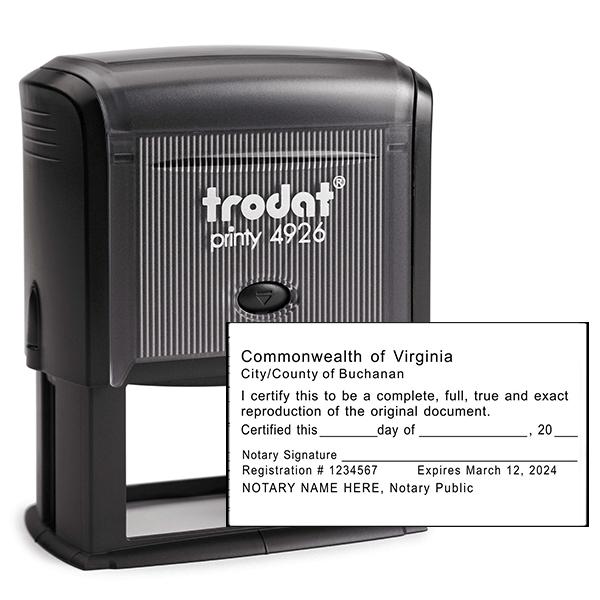 Virginia Certified True Copy Notary Stamp