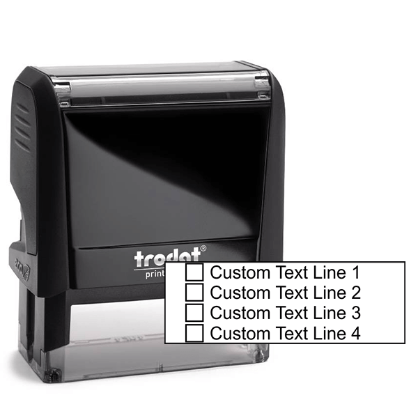 4 Line Checkbox Custom Rubber Stamp