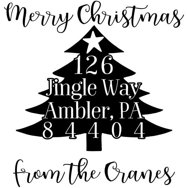 Christmas Tree Script Address Stamp