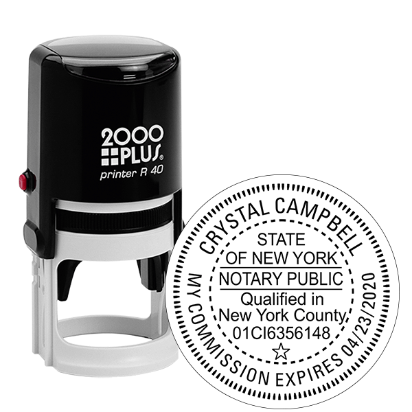 New York Notary with County and Expiration Round Stamp