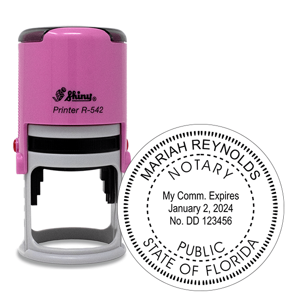 Florida Notary Pink Stamp - Round
