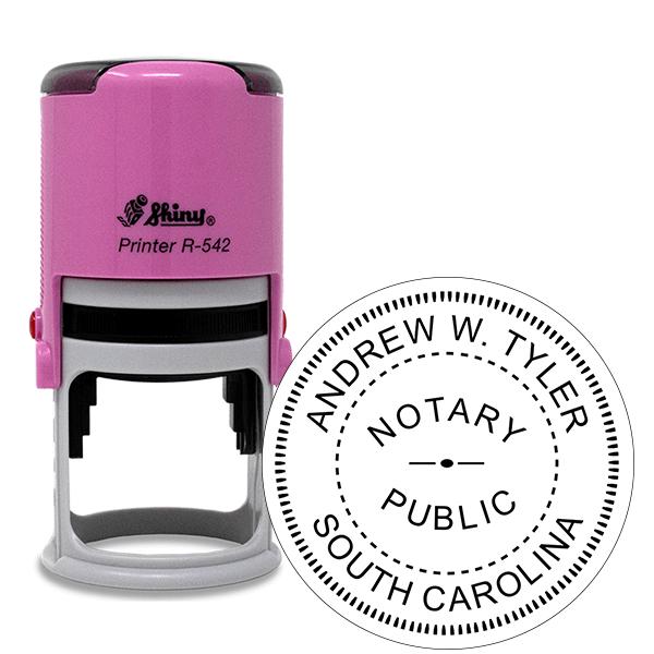 South Carolina Notary Pink Stamp - Round