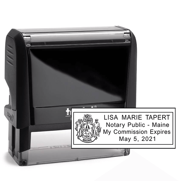 Maine Notary Pink Stamp - Rectangle