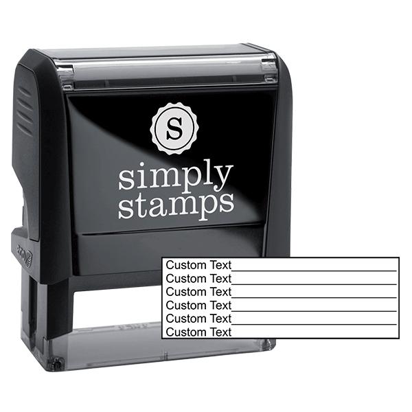 6 Line Form Custom Rubber Stamp