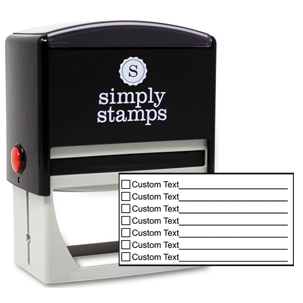 7 Line Box Form Custom Rubber Stamp