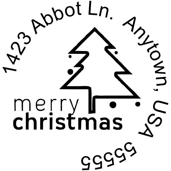 Merry Christmas address stamp design