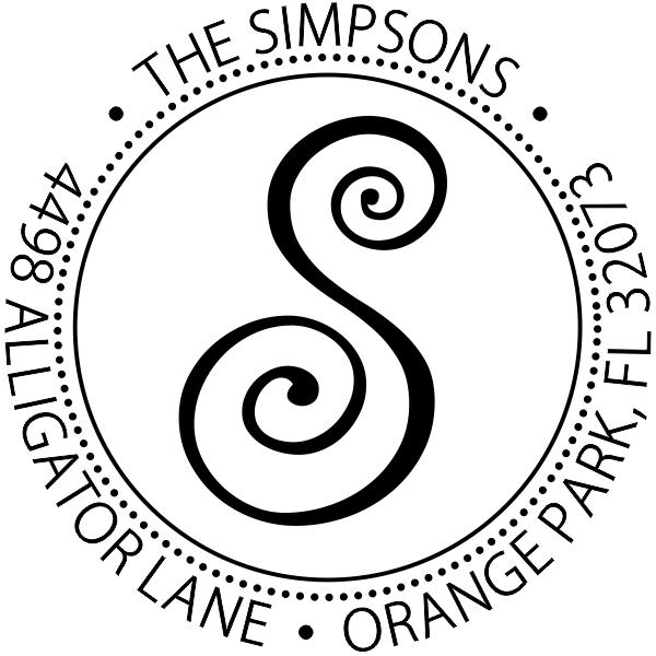 Round monogram address stamp design