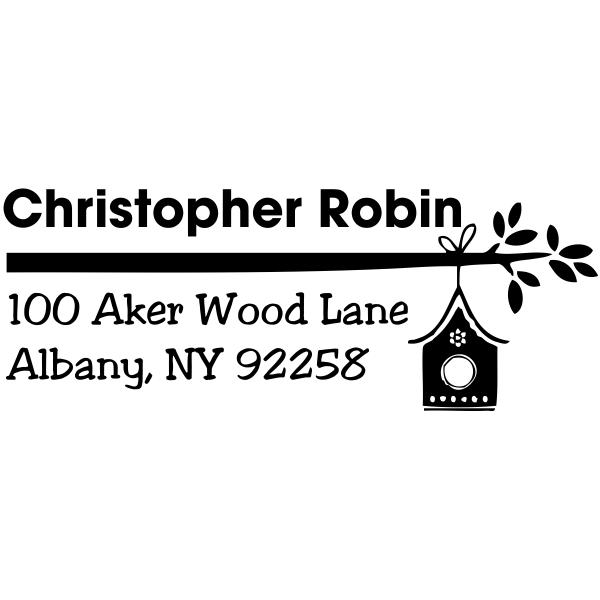 Self Inking birdhouse address stamp