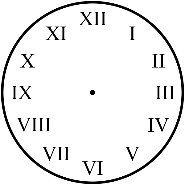 Time Due - Roman Numeral Clock Rubber Teacher Stamp