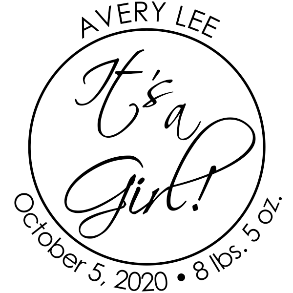 It's A Girl New Baby Stamp