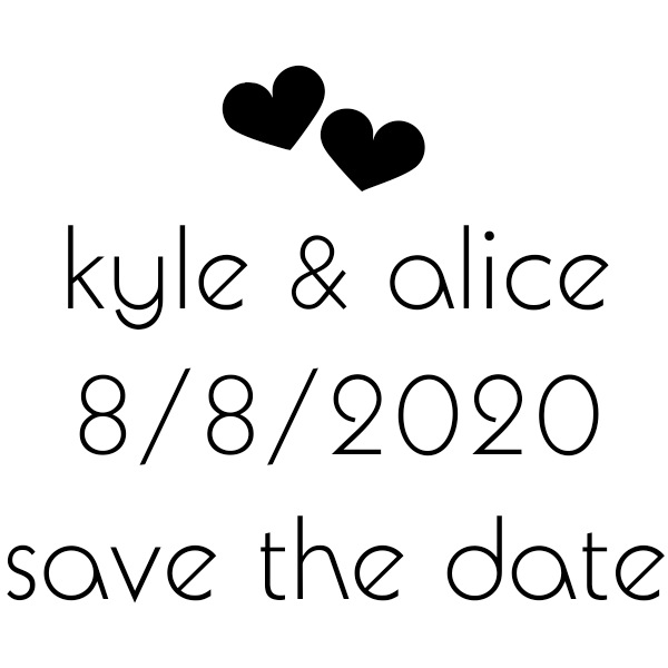 Save the Date Twin Hearts Stamp