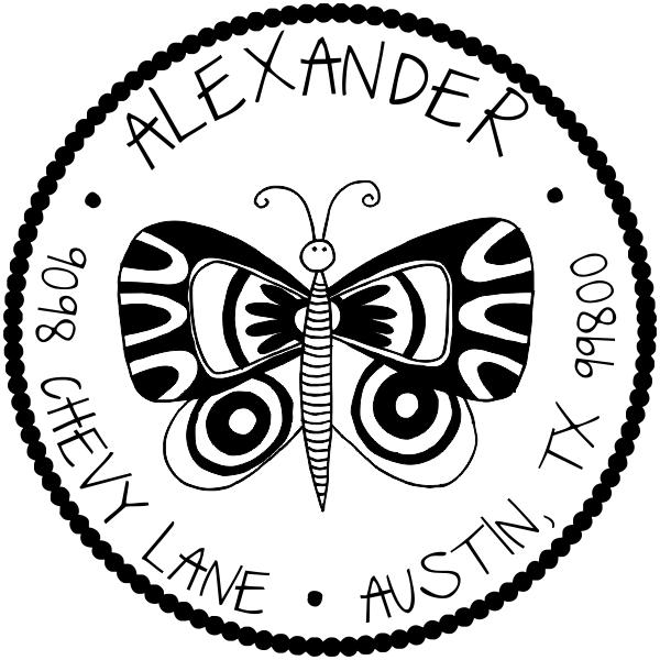 Butterfly Round Address Stamp