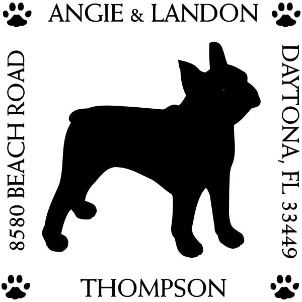 Boston Terrier Pet Lover Dog Return Address Stamp