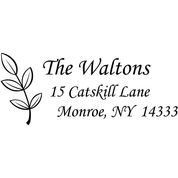 Walton Leaf Stem Address Stamp