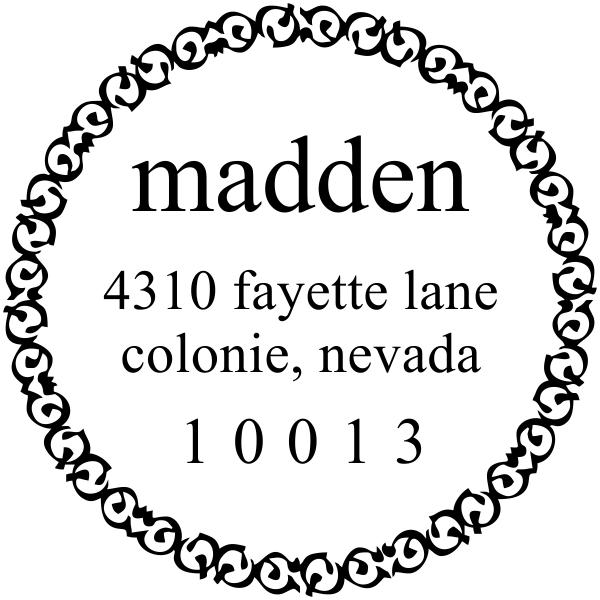 Madden Round Address Stamp