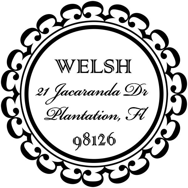 Welsh Round Address Stamp