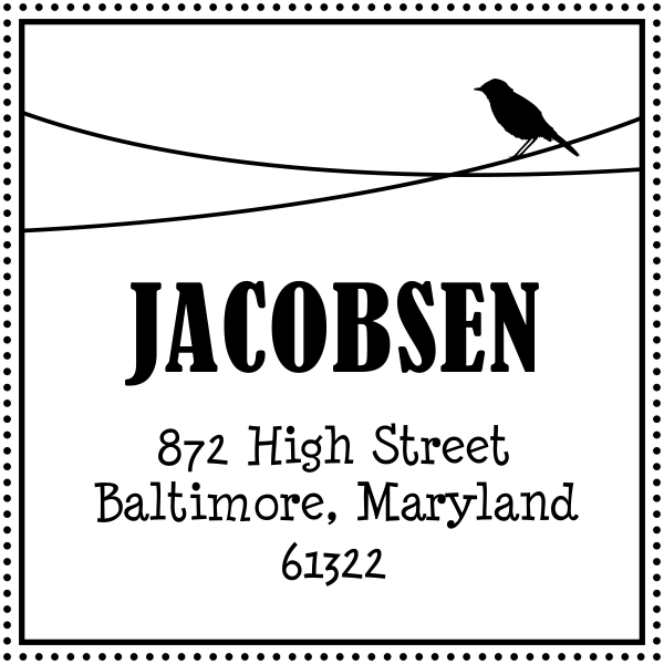 Jacobsen Bird Address Stamp