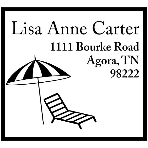 Bourke Beach Chair & Umbrella Square Address Stamp