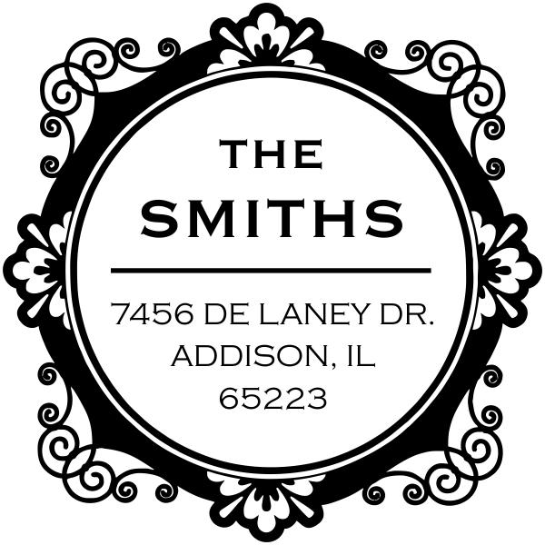 De Laney Round Address Stamp