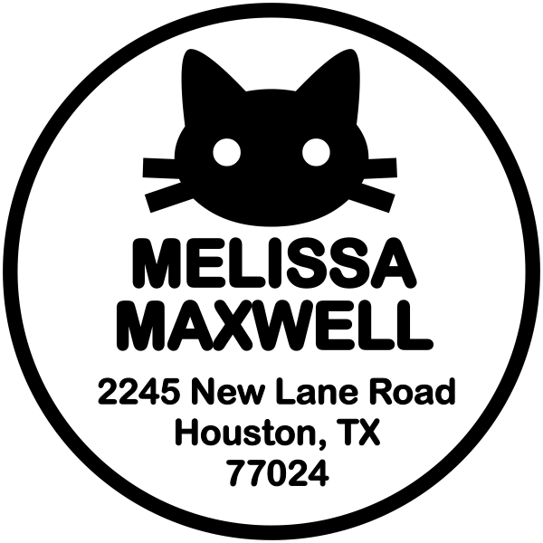 Maxwell Kitten Round Address Stamp