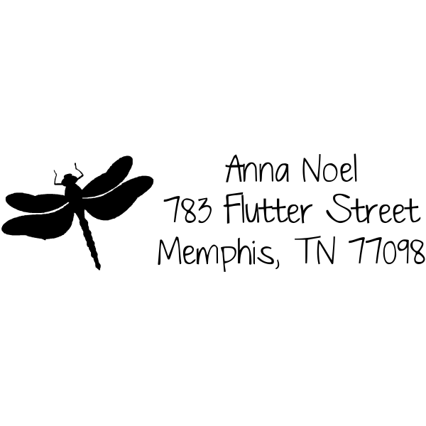 Flutter Dragonfly Address Stamp