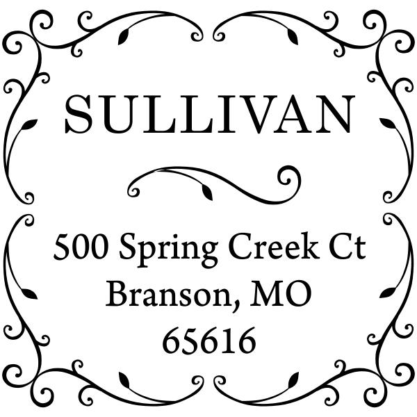 Sullivan Vine Address Stamp