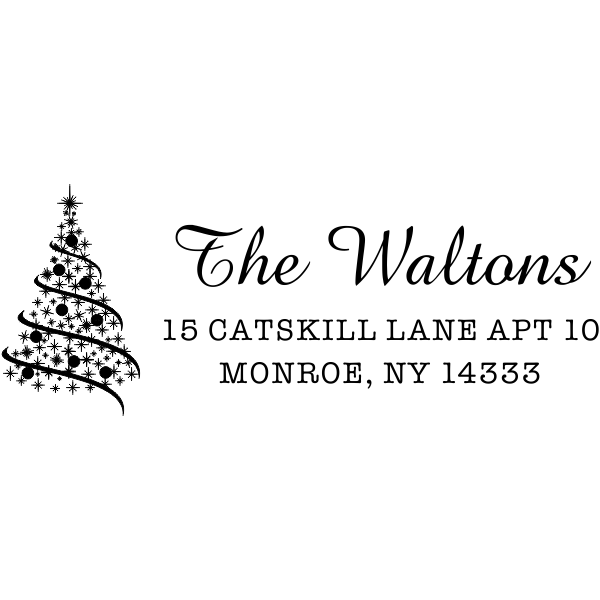 Walton Christmas Tree Address Stamp