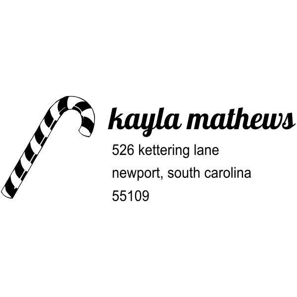 Mathews Candy Cane Address Stamp