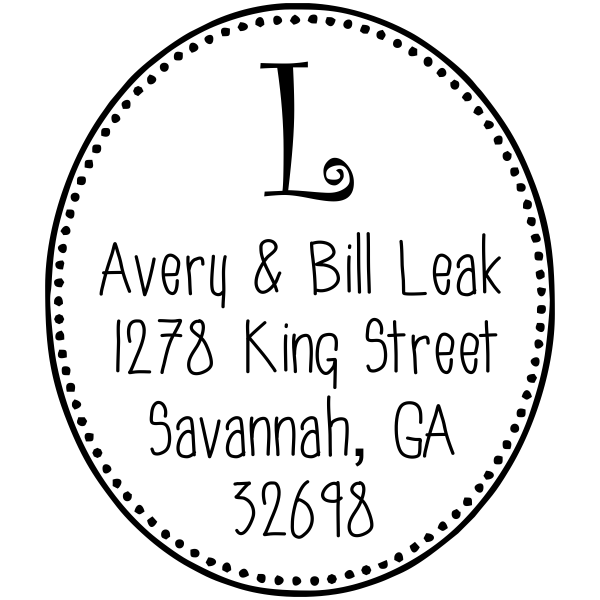 Avery Oval Monogram Address Stamp