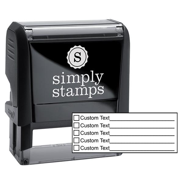 5 Line Box Form Custom Rubber Stamp