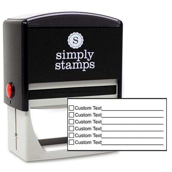 6 Line Box Form Custom Rubber Stamp