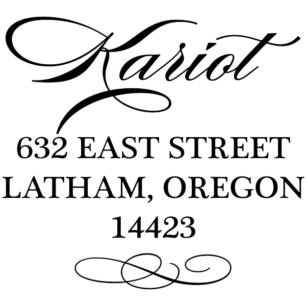 Cursive Deco Bow Return Address Stamp