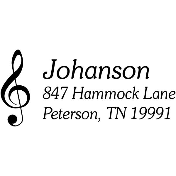 Musical Treble Clef Return Address Stamp