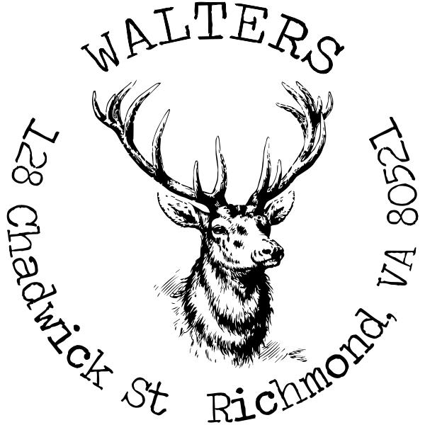 Deer Head Round Return Address Stamp