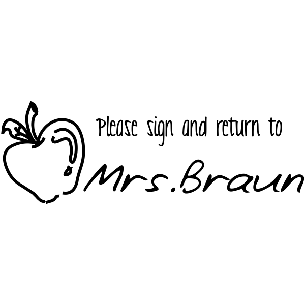 Sign And Return Apple Rubber Teacher Stamp