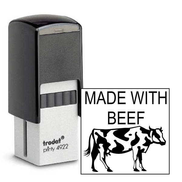 Made With Beef Rubber Stamp