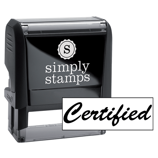 Certified Cursive Office Stock Stamp