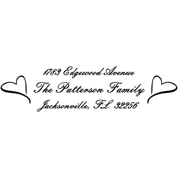 Twin Heart Custom Address Stamp